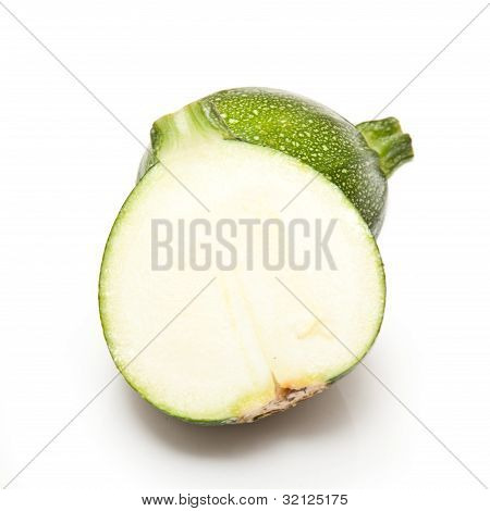 Globe Courgette Isolated On A White Studio Background.