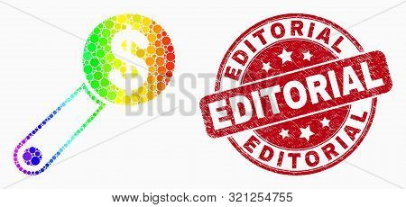 Dotted Spectral Financial Audit Mosaic Icon And Editorial Seal Stamp. Red Vector Round Grunge Seal W