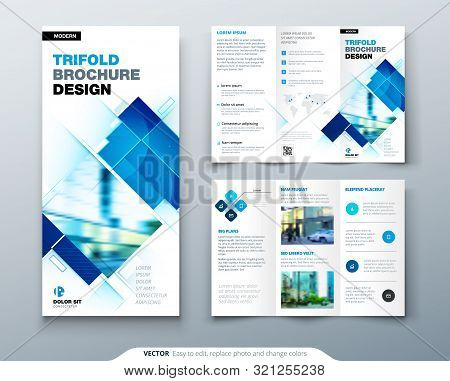 Tri Fold Brochure Design With Square Shapes, Corporate Business Template For Tri Fold Flyer. Creativ