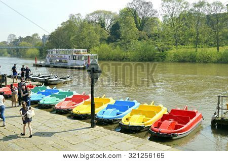 Chester, Cheshire, England, Uk, Europe - April 19, 2019 : Pedal Boats On The River Dee In Chester Ci