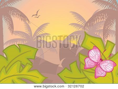 Background with tropical plants and trees.