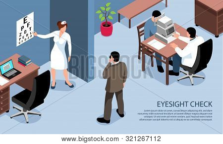 People With Vision Impairment Blind Isometric Horizontal Banner Of Eye Examination Test By Ophthalmo