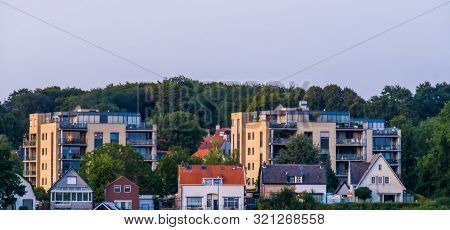 Cottages And Apartment Complexes In Rhenen, City Architecture, Beautiful Town In The Netherlands