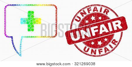 Pixel Spectrum Medical Message Hint Mosaic Pictogram And Unfair Stamp. Red Vector Round Scratched Se