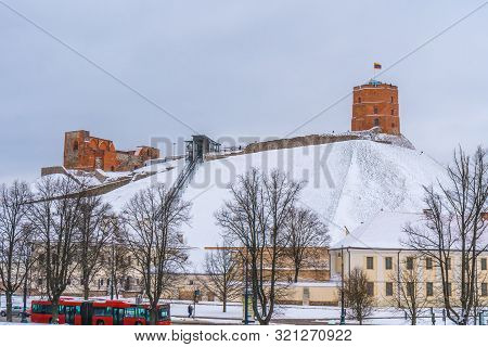 Gediminas Tower In Vilnius In A Snowy Winter Day, Lietuva.