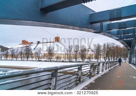 View Of Karallaus Mindaugo Bridge Over Neris River In Lietuva.