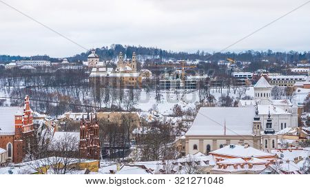 Areal View Of Old Town Of Vilnius, Lietuva In Winter.