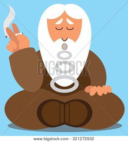 A Cartoon Wise Man Is Taking A Cigarette Break