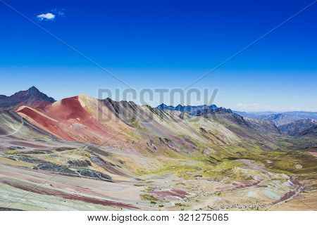 View From The Top Of The Rainbow Mountain In Peru