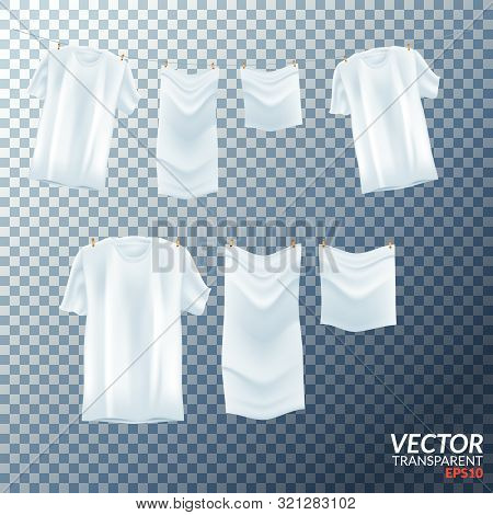 Bright White Clothes Hanging Out On Washing Line. Vector Illustration