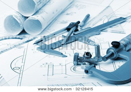 die Details der Industrie, eine Schrauben, Mikrometer, Messschieber, Teiler