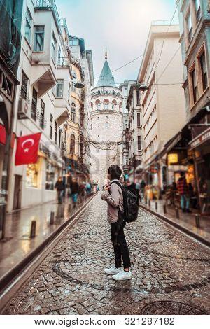 Man Traveling At Istanbul Galata Tower, Turkey