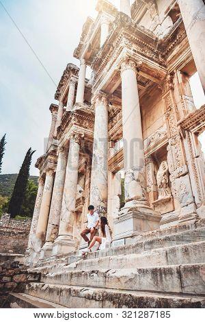 Travel At The Library Of Celus In Ephesus, Izmir, Turkey