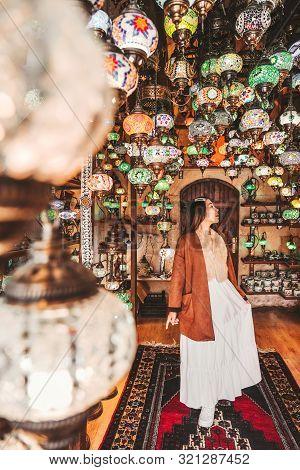 Happy Travel Woman Choosing Amazing Traditional Handmade Turkish Lamps In Local Souvenir Shop ,gorem