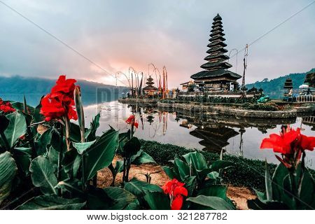 Landscape View Of Pura Ulun Danu Beratan The Floating Temple In Bali , Indonesia In Morning.