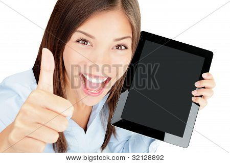 Tablet Computer Woman Happy