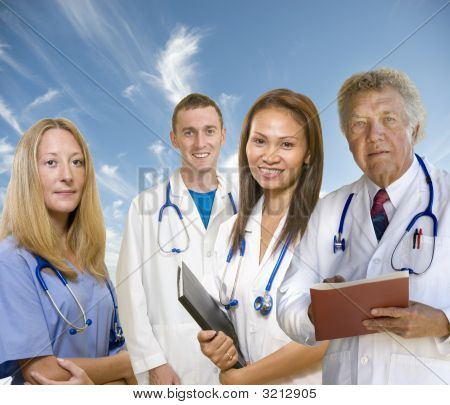 Senior Doctor And His Staff