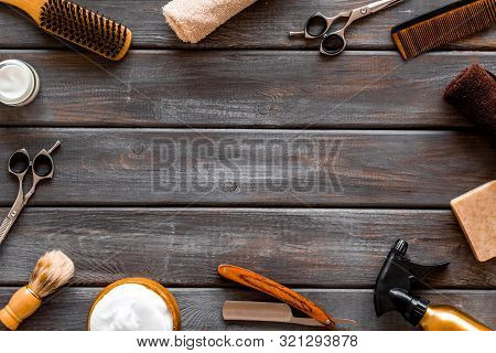 Mens Hairdressing. Equipment On Dark Wooden Background Top View Copy Space
