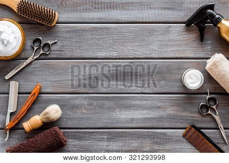 Mens Shaving Accessories On Dark Wooden Background Top View Copy Space
