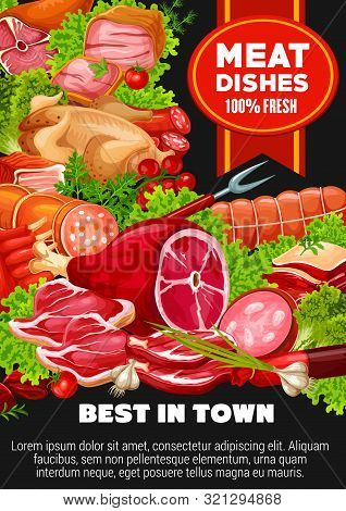 Meat And Poultry Dishes Of Beef, Pork, Lamb And Greens. Vector Sausages And Cutlery, Butchery Produc