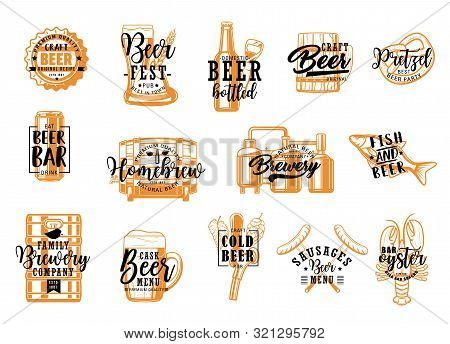 Beer Fest, Brewery Craft, Snacks Food Isolated Icons With Lettering. Vector Bottles, Pint Mugs With