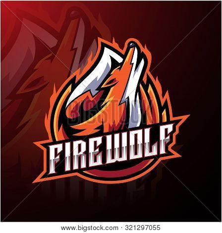 Fire wolf esport logo design with text poster