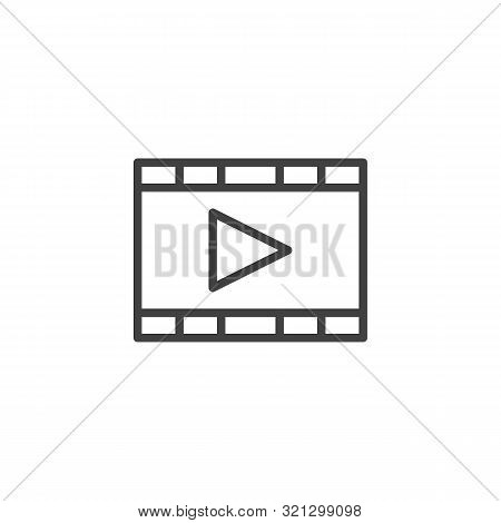 Film, Movie Line Icon. Multimedia Player Linear Style Sign For Mobile Concept And Web Design. Play B
