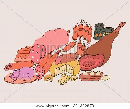 Graphic Vector Drawing Of The Symbolic Image Of Gastronomic Abundance On The Table