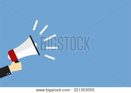 Hand Holding Megaphone Icon On Blue Background. Social Media Marketing. Information Concept. Loudspe