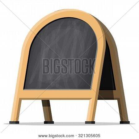 Empty Menu Black Board. Cafe Wooden Chalk Board. Blank Menu Blackboard Outdoor Display. Advertising