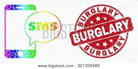 Pixelated Bright Spectral Smartphone Sms Mosaic Pictogram And Burglary Watermark. Red Vector Rounded