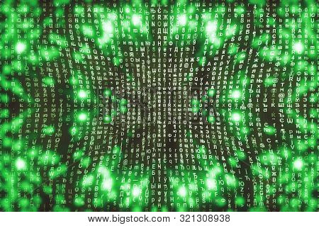 Green Matrix Digital Background. Abstract Cyberspace Concept. Characters Fall Down. Matrix From Symb