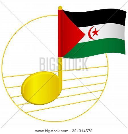 Sahrawi Arab Democratic Republic Flag And Musical Note. Music Background. National Flag Of Sahrawi A