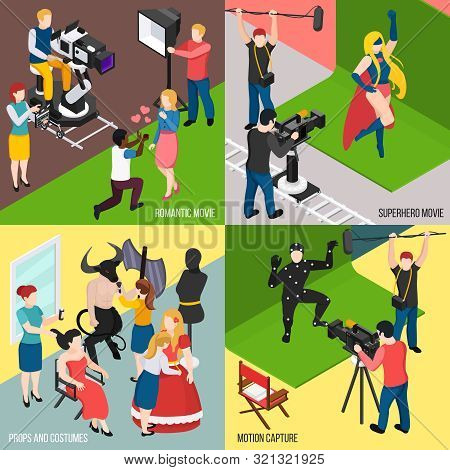 Super Hero And Romantic Movies Motion Capture Cinema Props And Costumes Isometric Design Concept Iso