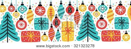 Cute Merry Little Christmas Horizontal Banner Background With Hand Drawn Christmas Tree, Balls And P