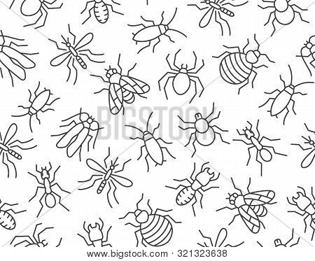 Pest Control Seamless Pattern With Flat Line Icons. Insects Background - Mosquito, Spider, Fly, Cock