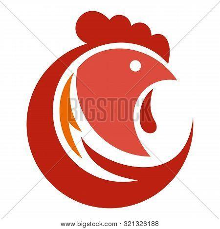 Head Rooster Logo. Flat Illustration Of Head Rooster Vector Logo For Web Design