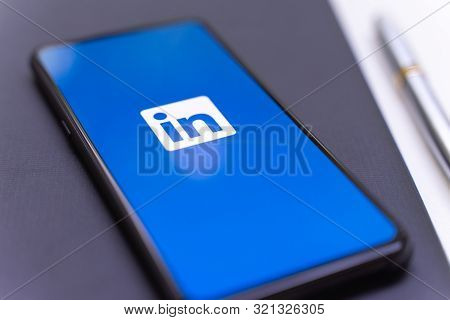 Chiang Mai, Thailand - Aug.24,2019: Xiaomi Mi Mix 3 Mobile Phone With Linkedin Application On The Sc