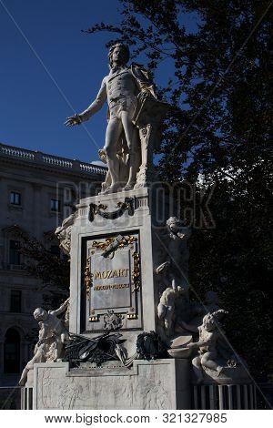Wolfgang Amadeus Mozart Statue In Burggarten Park In Vienna Austria