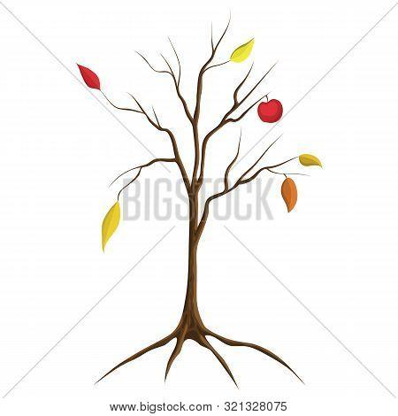 Cartoon Illustration Of Bare Apple Tree Isolated On White Background. Tree No Leaves Isolated. Flat