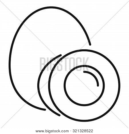 Boiled Egg Icon. Outline Boiled Egg Vector Icon For Web Design Isolated On White Background