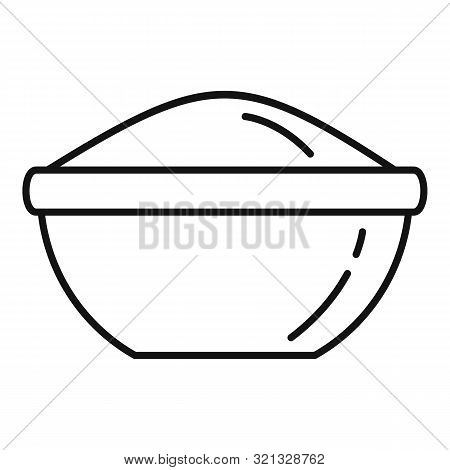 Rice Bowl Icon. Outline Rice Bowl Vector Icon For Web Design Isolated On White Background
