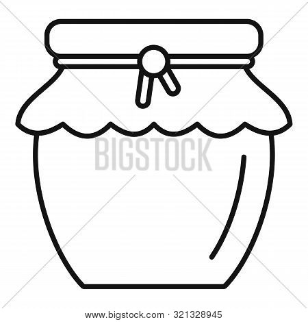Honey Jar Icon. Outline Honey Jar Vector Icon For Web Design Isolated On White Background