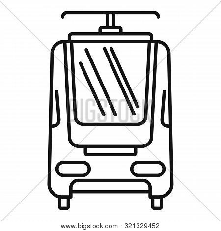 Electric Train Icon. Outline Electric Train Vector Icon For Web Design Isolated On White Background