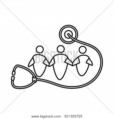 Stethoscope Health Commitment Teamwork Together Outline Logo