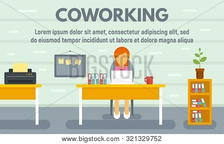 Coworking Concept Banner. Flat Illustration Of Coworking Vector Concept Banner For Web Design