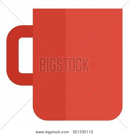 Red Mug Cup Icon. Flat Illustration Of Red Mug Cup Vector Icon For Web Design