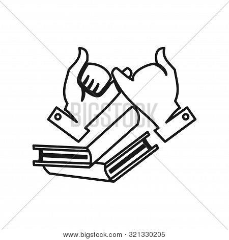 Book Education Hand Commitment Teamwork Together Outline Logo