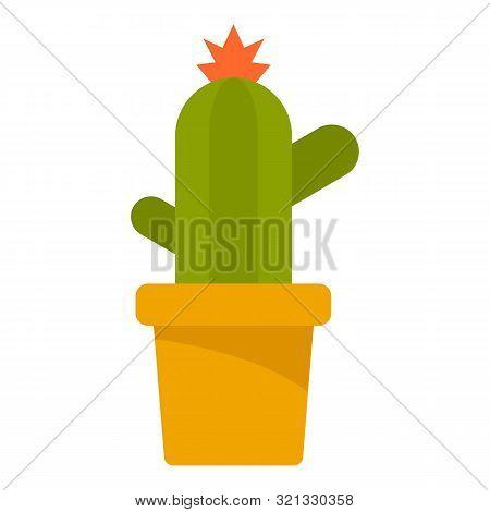 Cactus Pot Icon. Flat Illustration Of Cactus Pot Vector Icon For Web Design