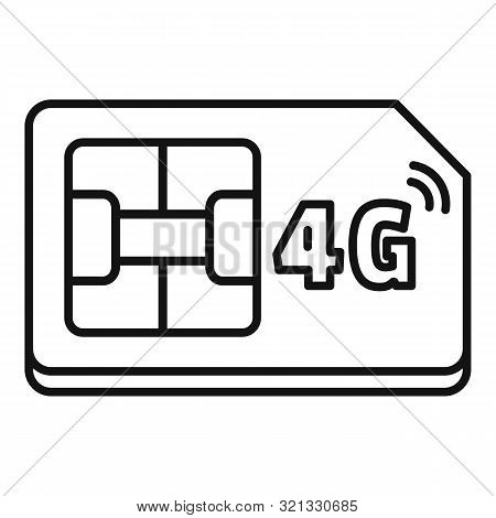 4g Sim Card Icon. Outline 4g Sim Card Vector Icon For Web Design Isolated On White Background